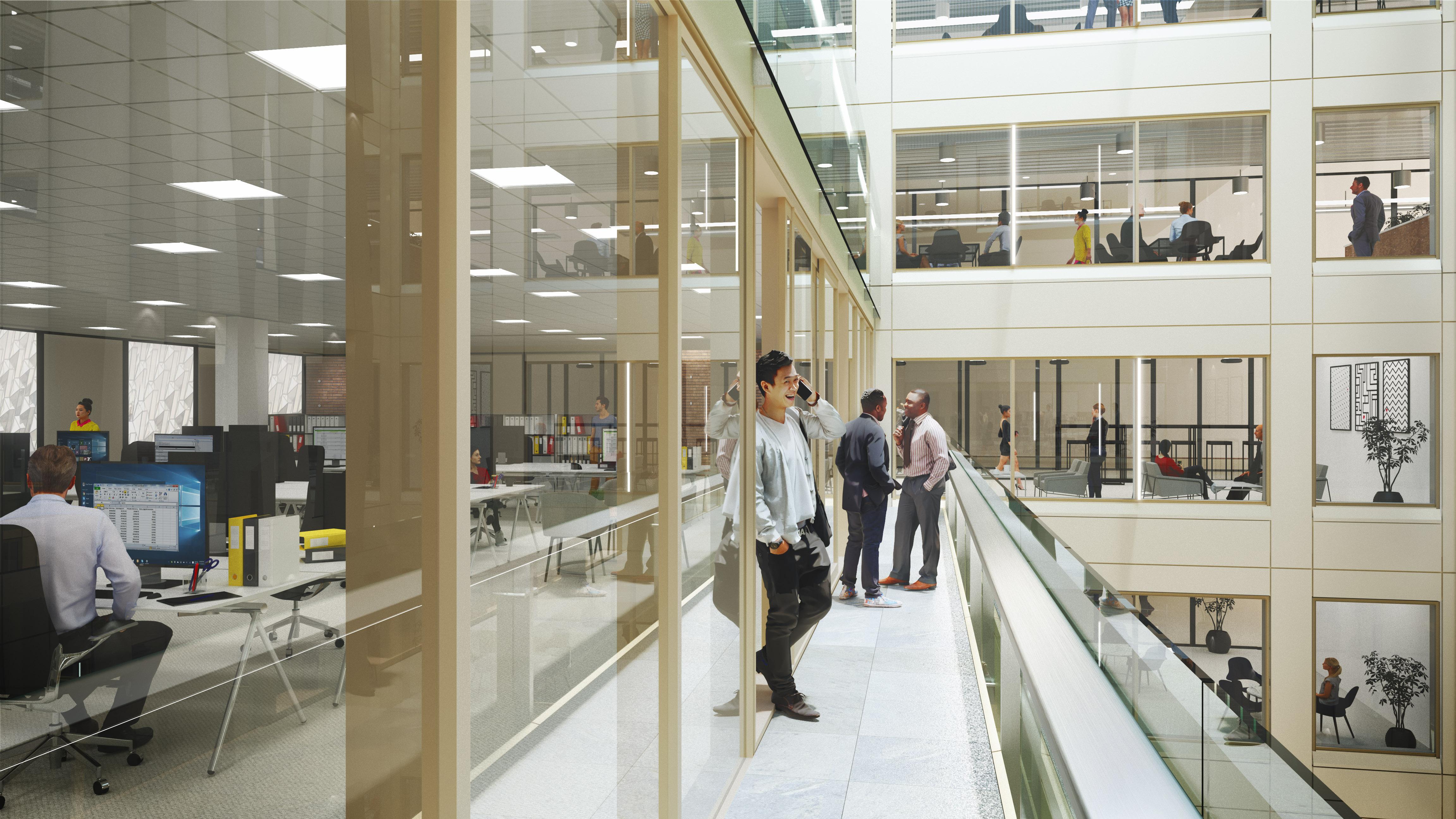 Wizualizacja wnętrza komercyjne - UKH Lightwell ujecie balkon