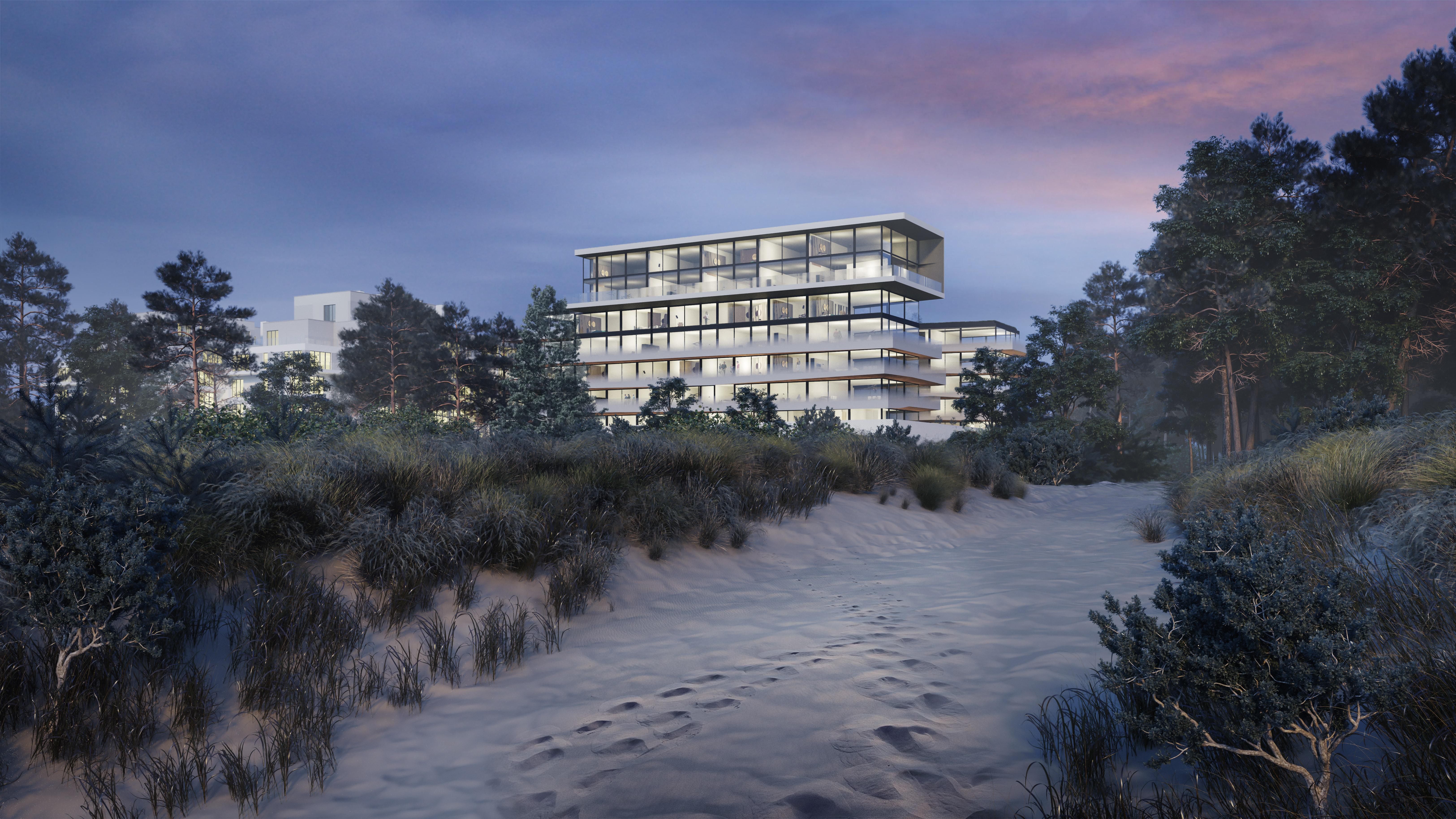 Wizualizacja 3D hotelu nad Bałtykiem Świnoujście widok z plaży
