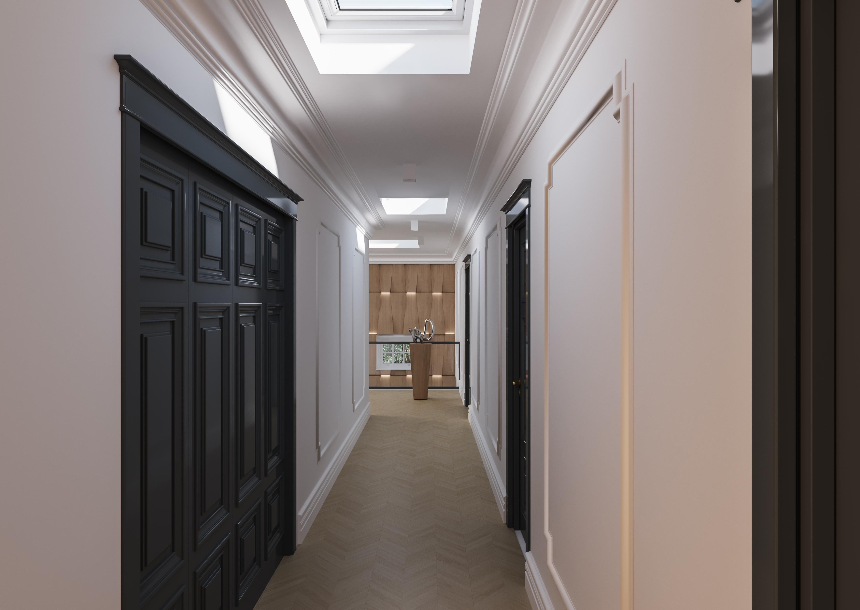 Okna Velux - Simonson oświetlony korytarz wizualizacja wnętrza