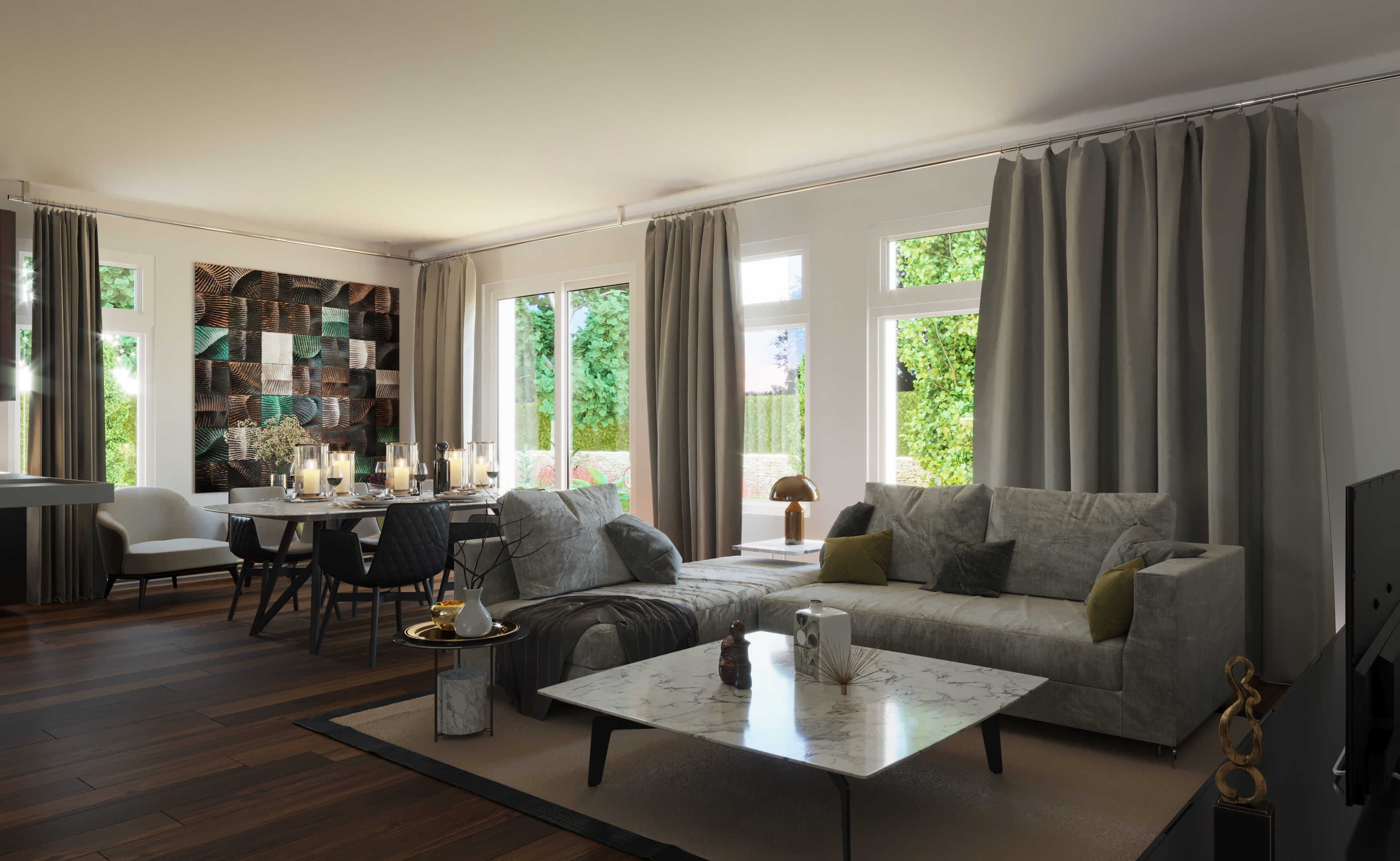 Wizualizacja mieszkania salon nieruchomość Ashton bez okien Velux