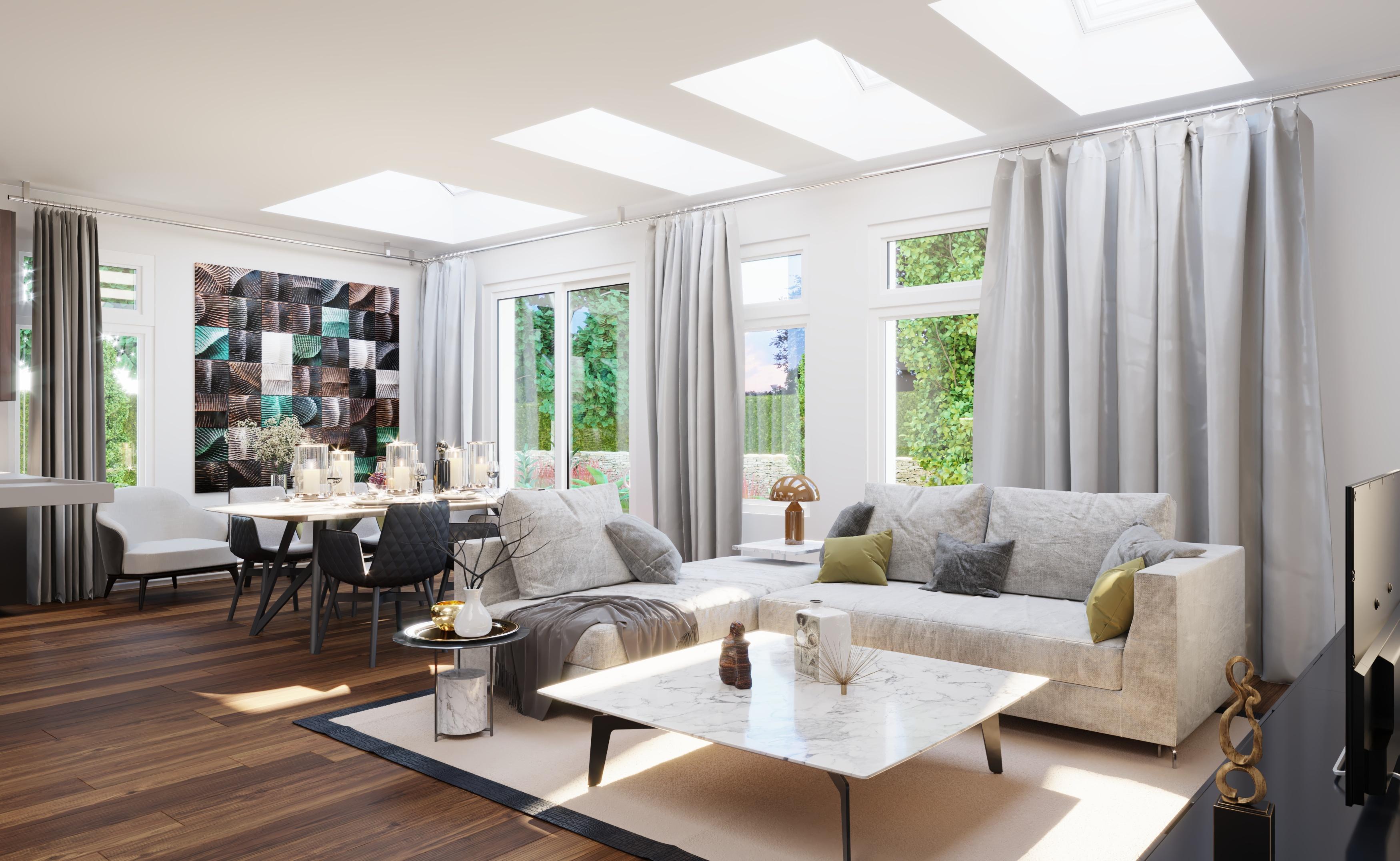 Wizualizacja mieszkania salon nieruchomość Ashton okna VELUX
