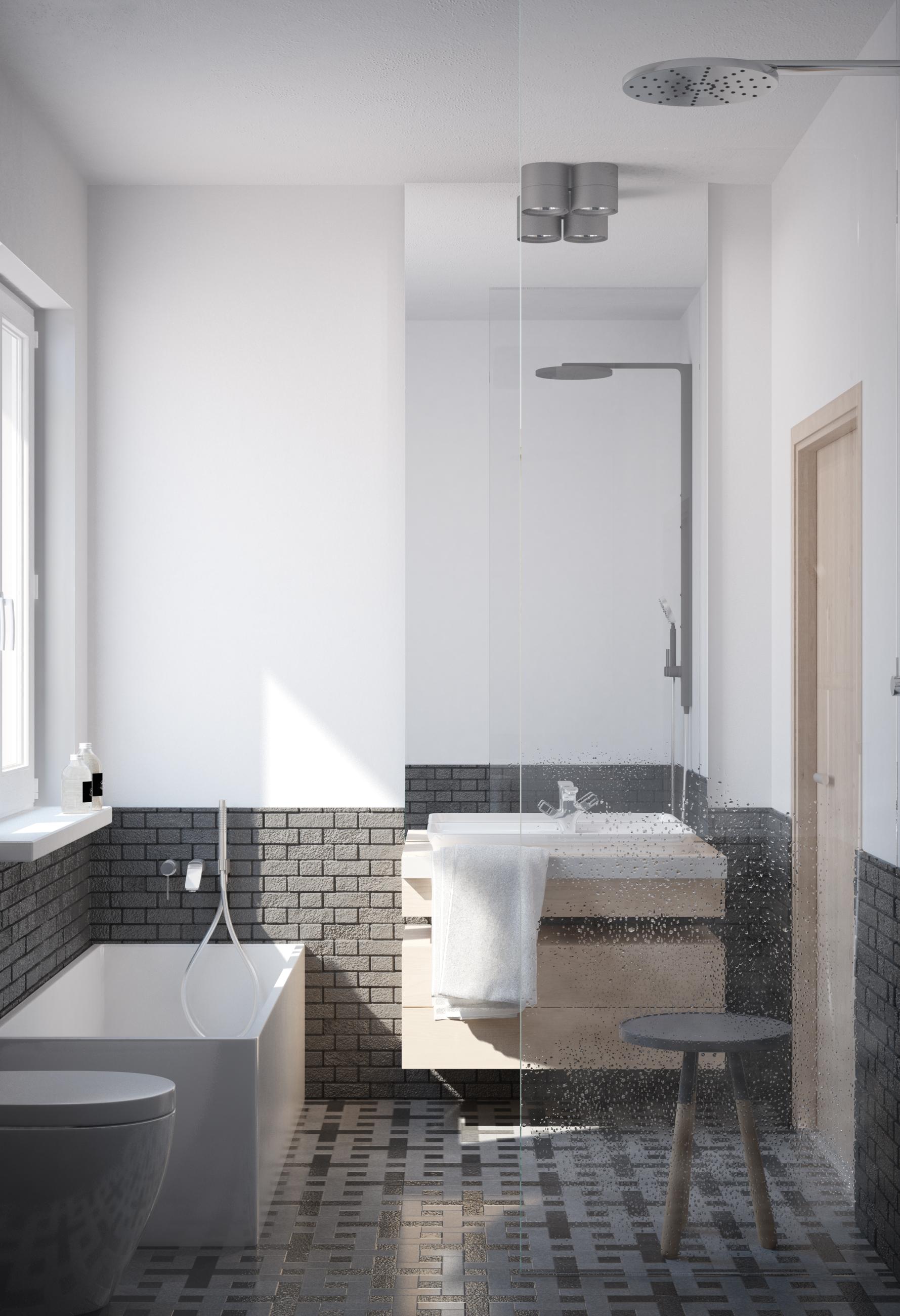 Wizualizacja mieszkanie developerskie Utrecht łazienka