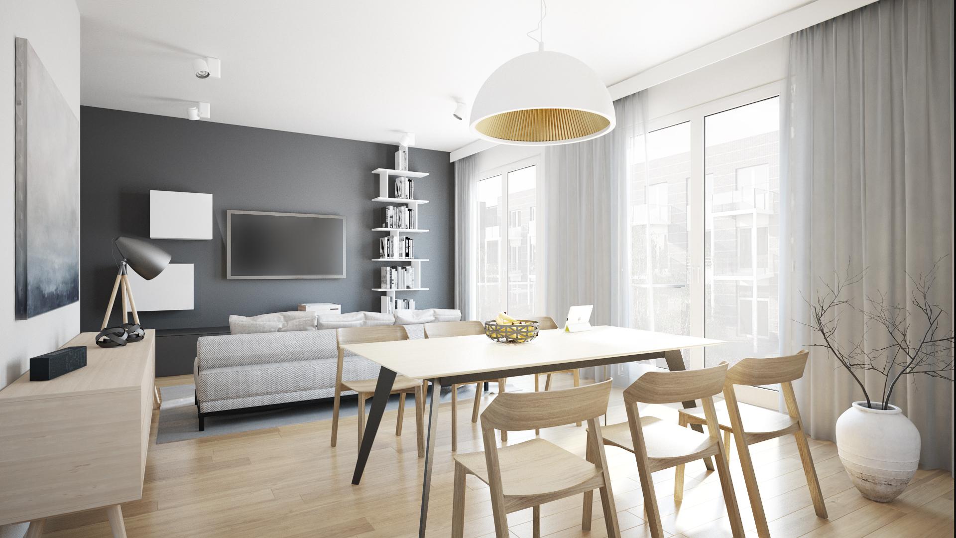 Wizualizacja mieszkanie developerskie Utrecht pokój dzienny