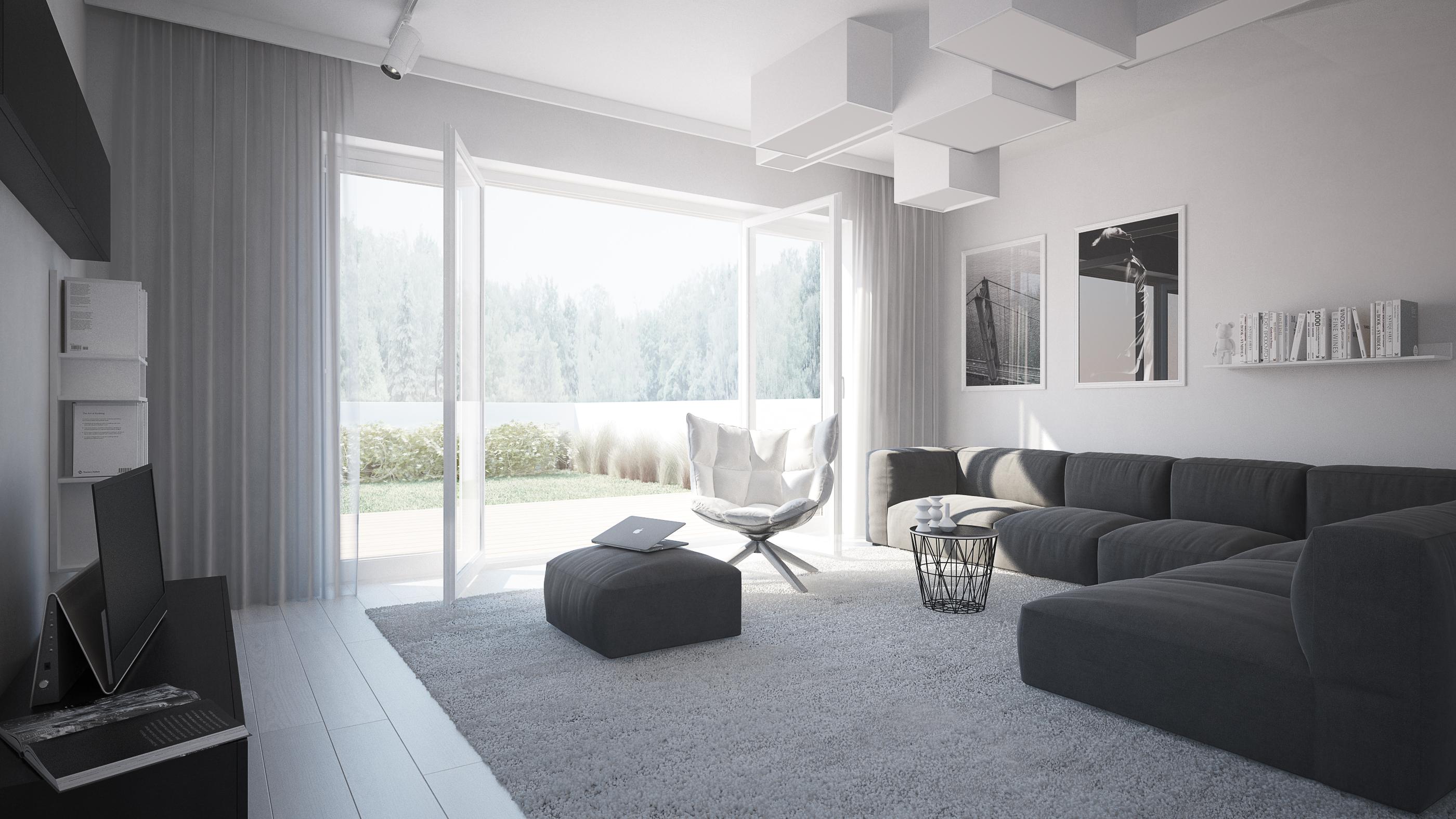Wizualizacja mieszkanie developerskie Utrecht salon