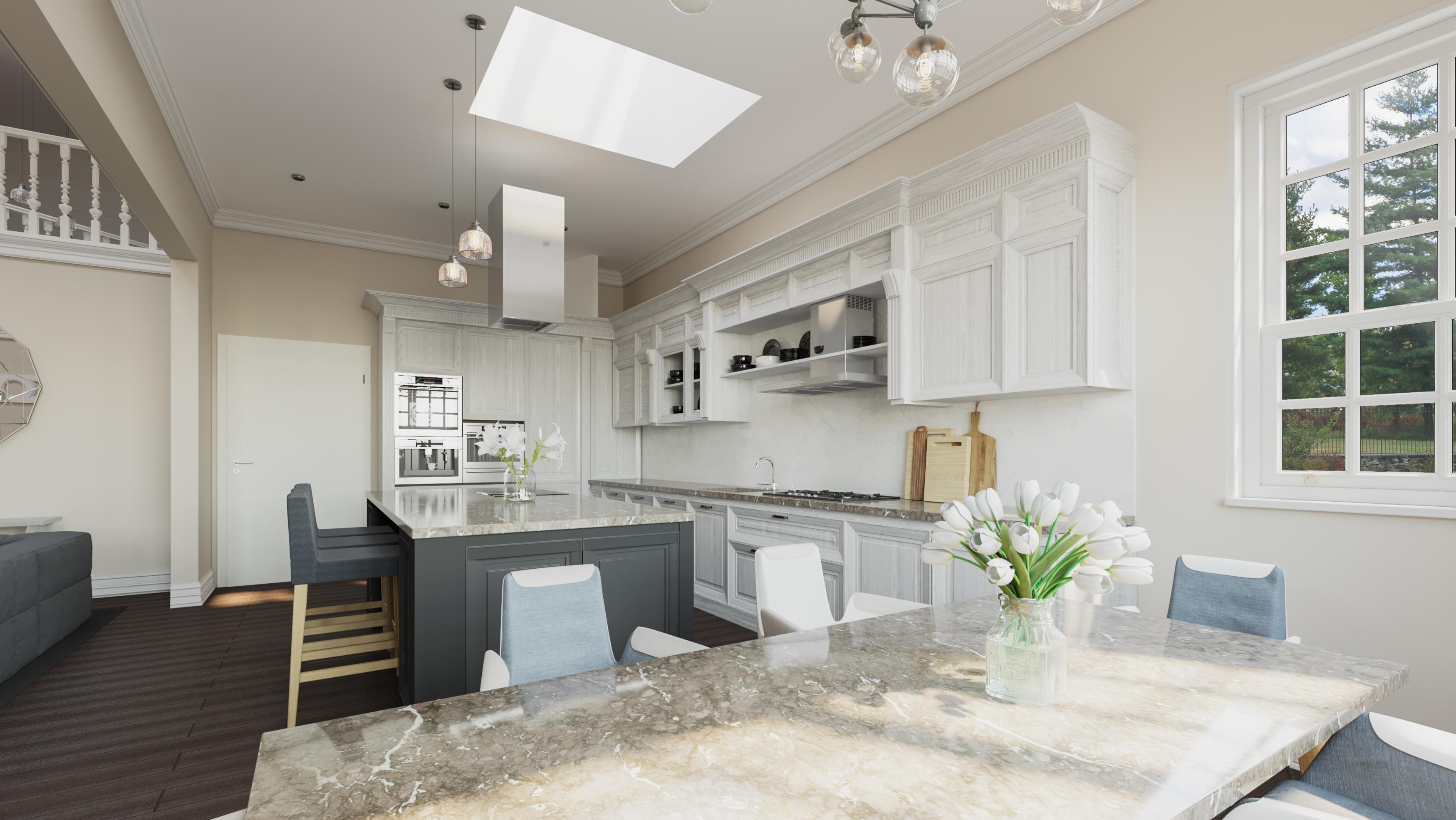 Wizualizacja wnętrz 3d - mieszkanie, kuchnia z oknami dachowymi