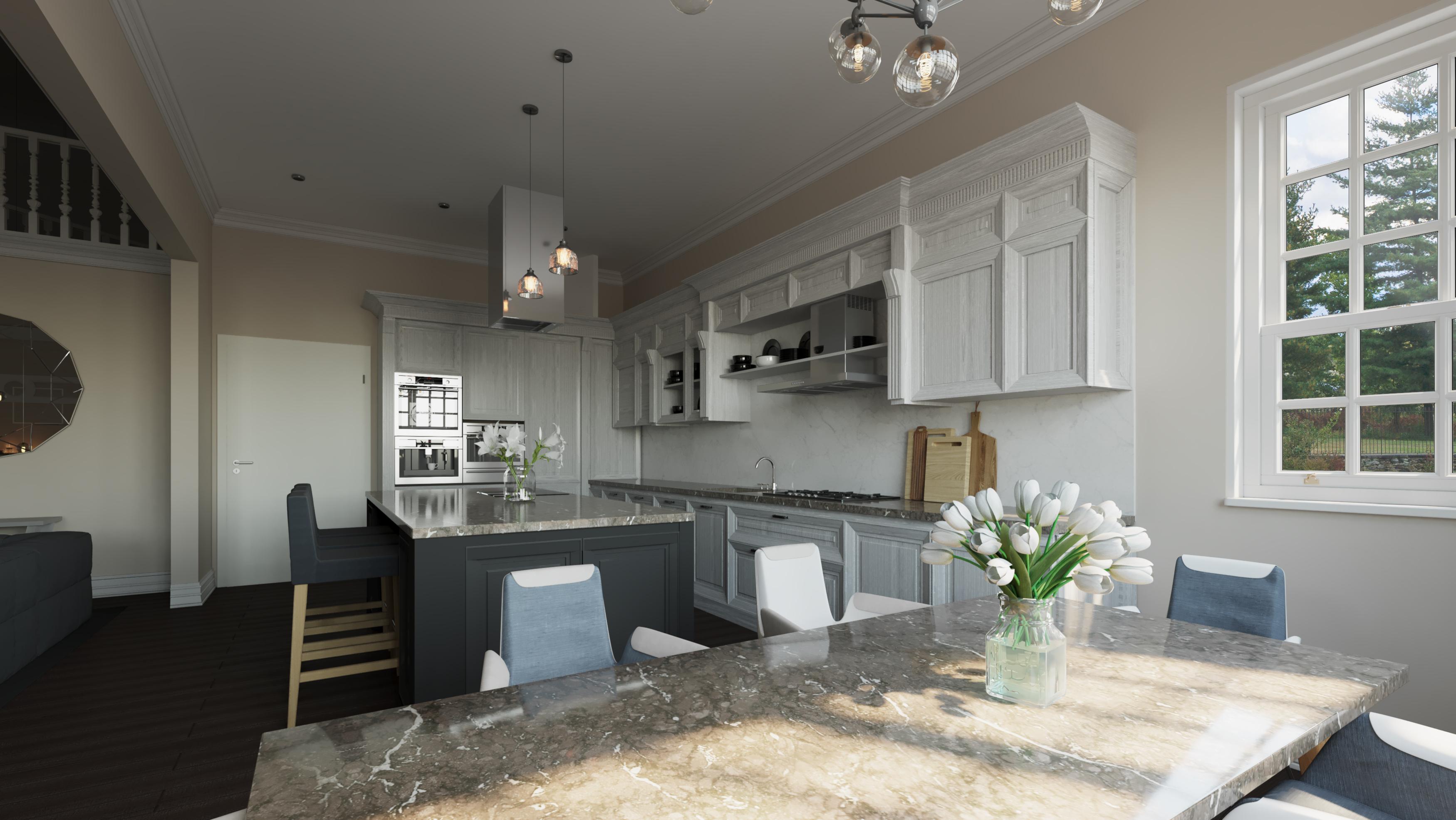 Wizualizacja wnętrz 3d - mieszkanie, kuchnia bez okien dachowych