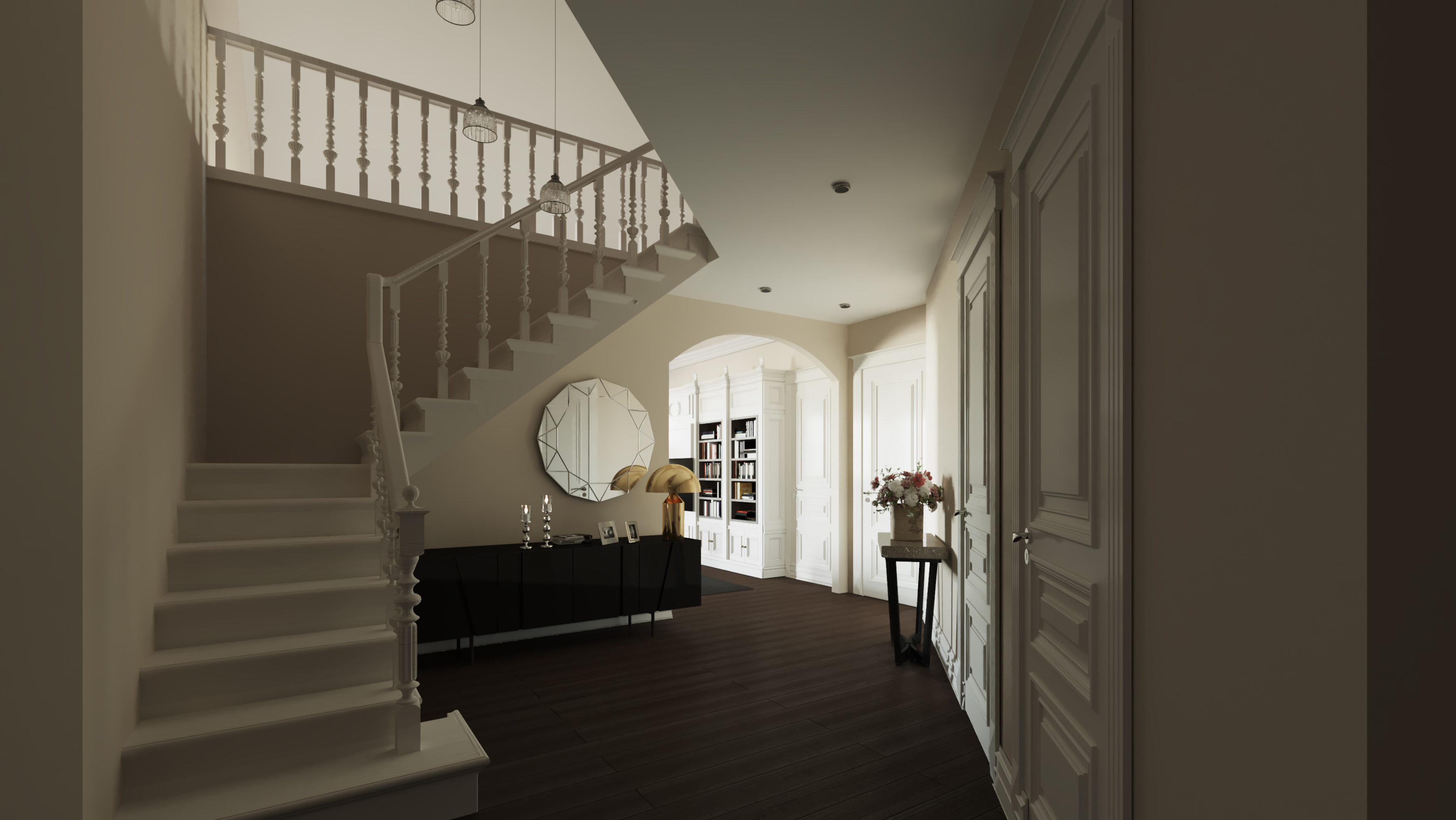 Wizualizacja wnętrz 3d - mieszkanie, klatka schodowa bez okna dachowego