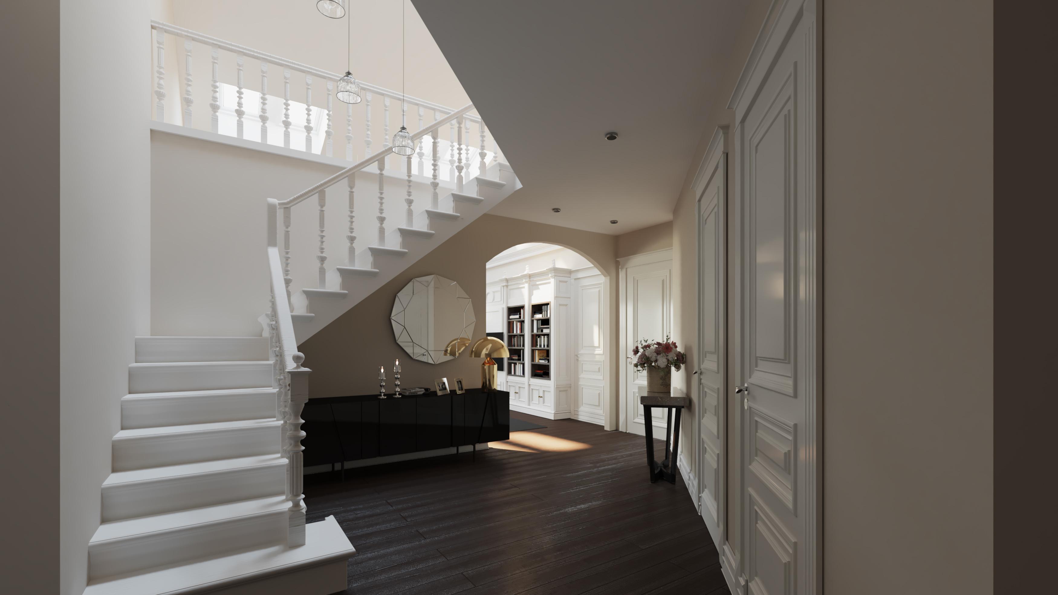 Wizualizacja wnętrz 3d - mieszkanie, klatka schodowa z oknem dachowym