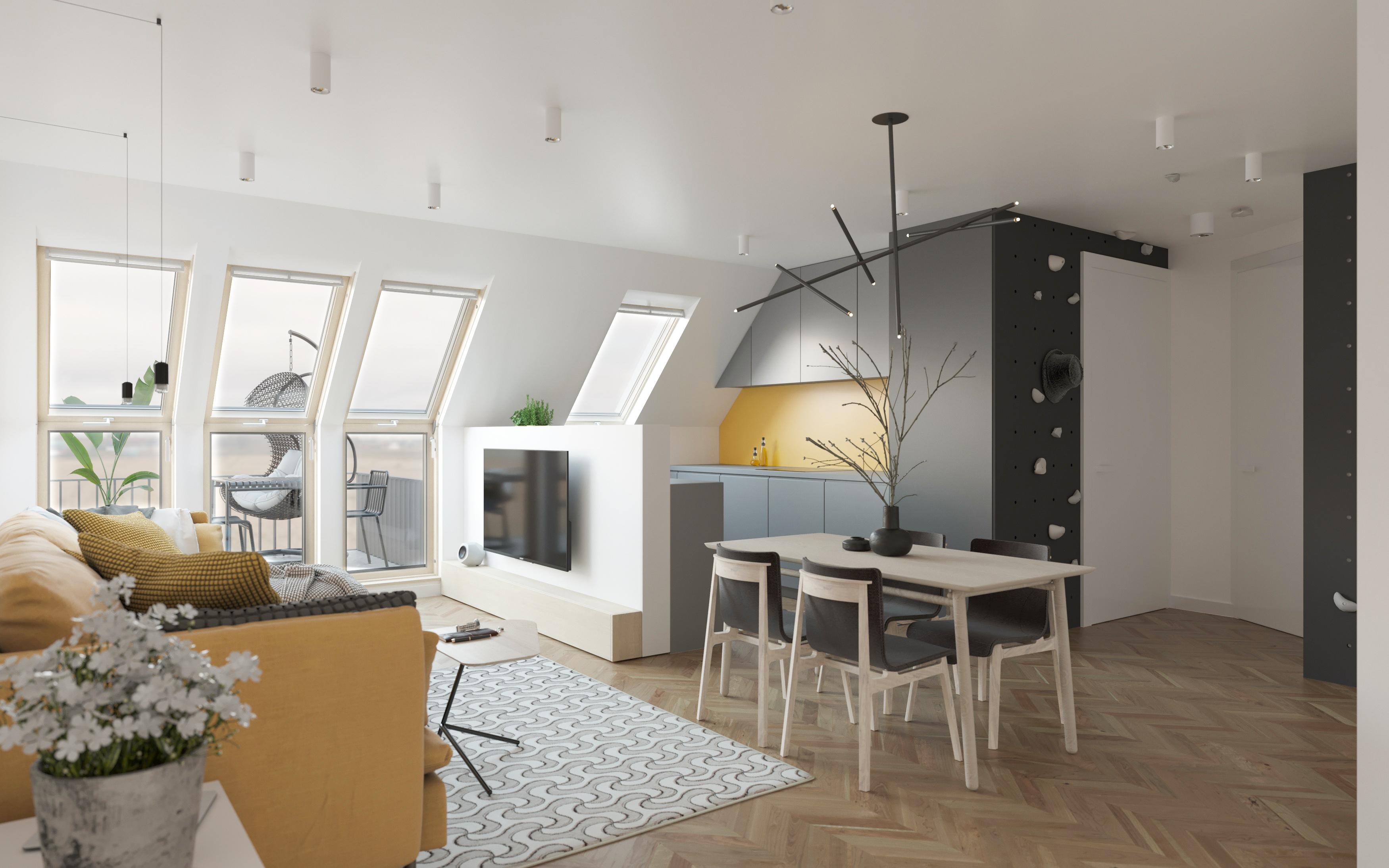 Wizualizacja wnętrz apartament światło okna VELUX 3