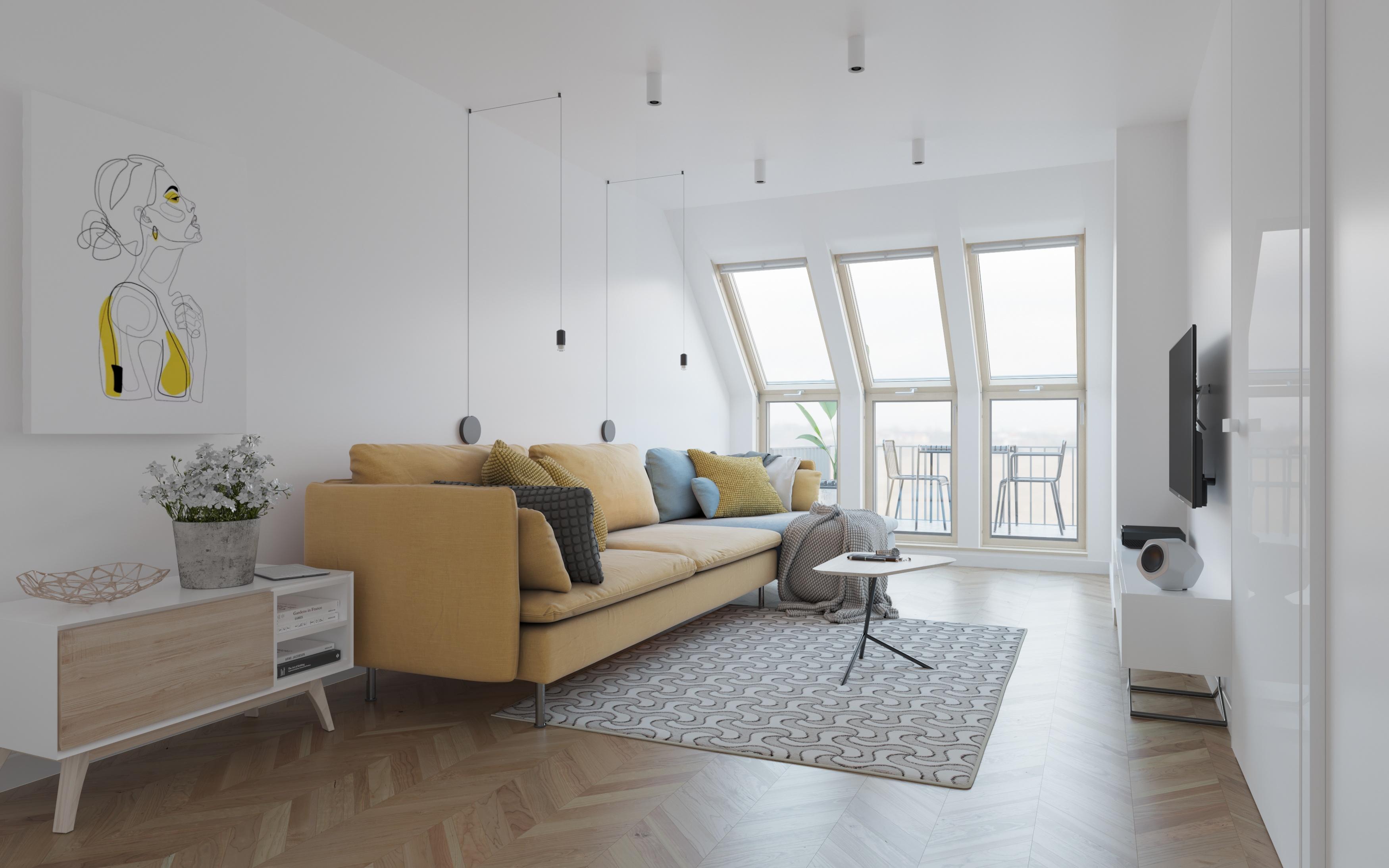 Wizualizacja wnętrz apartament światło okna VELUX