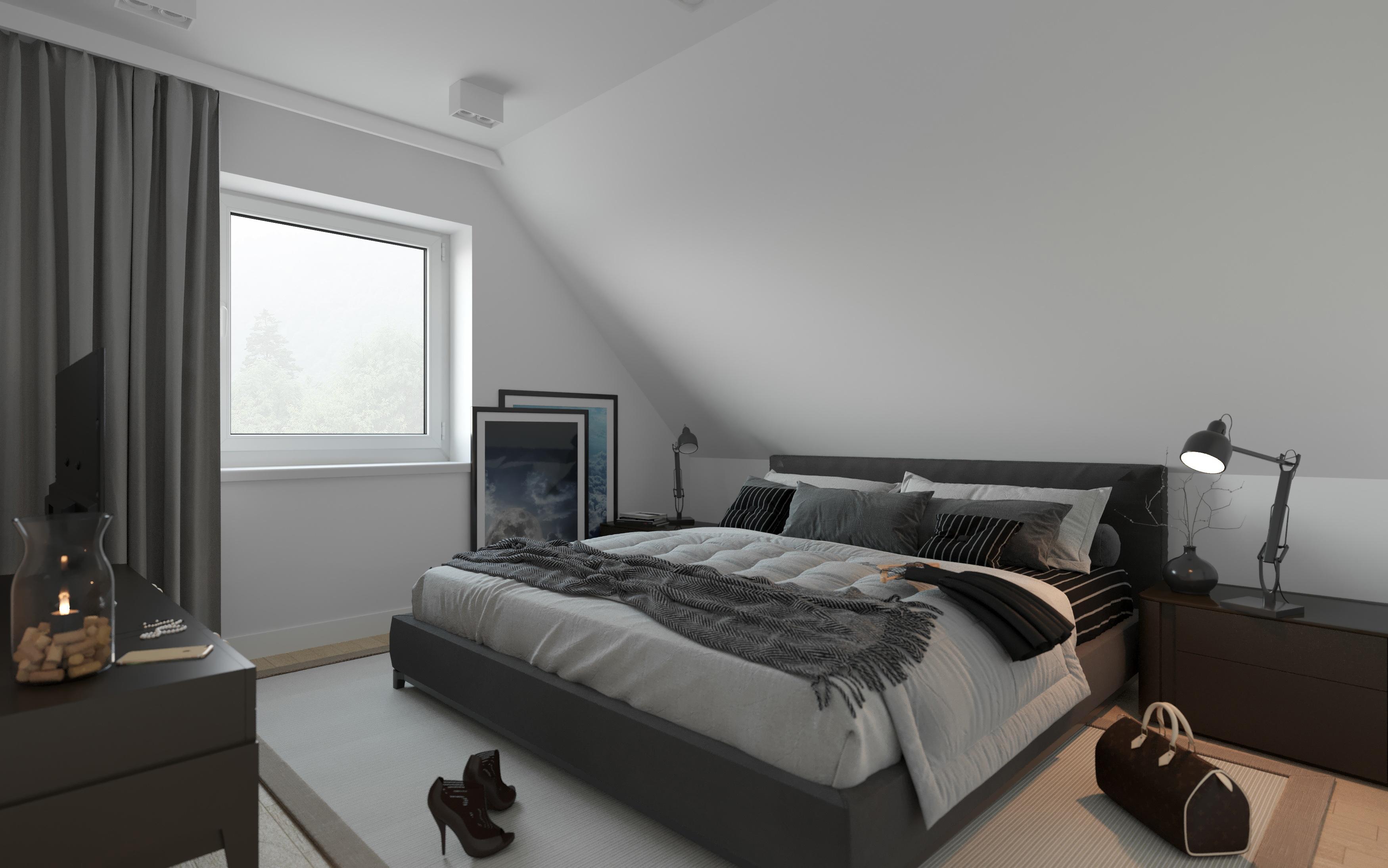 Okna dachowe - wizualizacja wnętrz sypialnia
