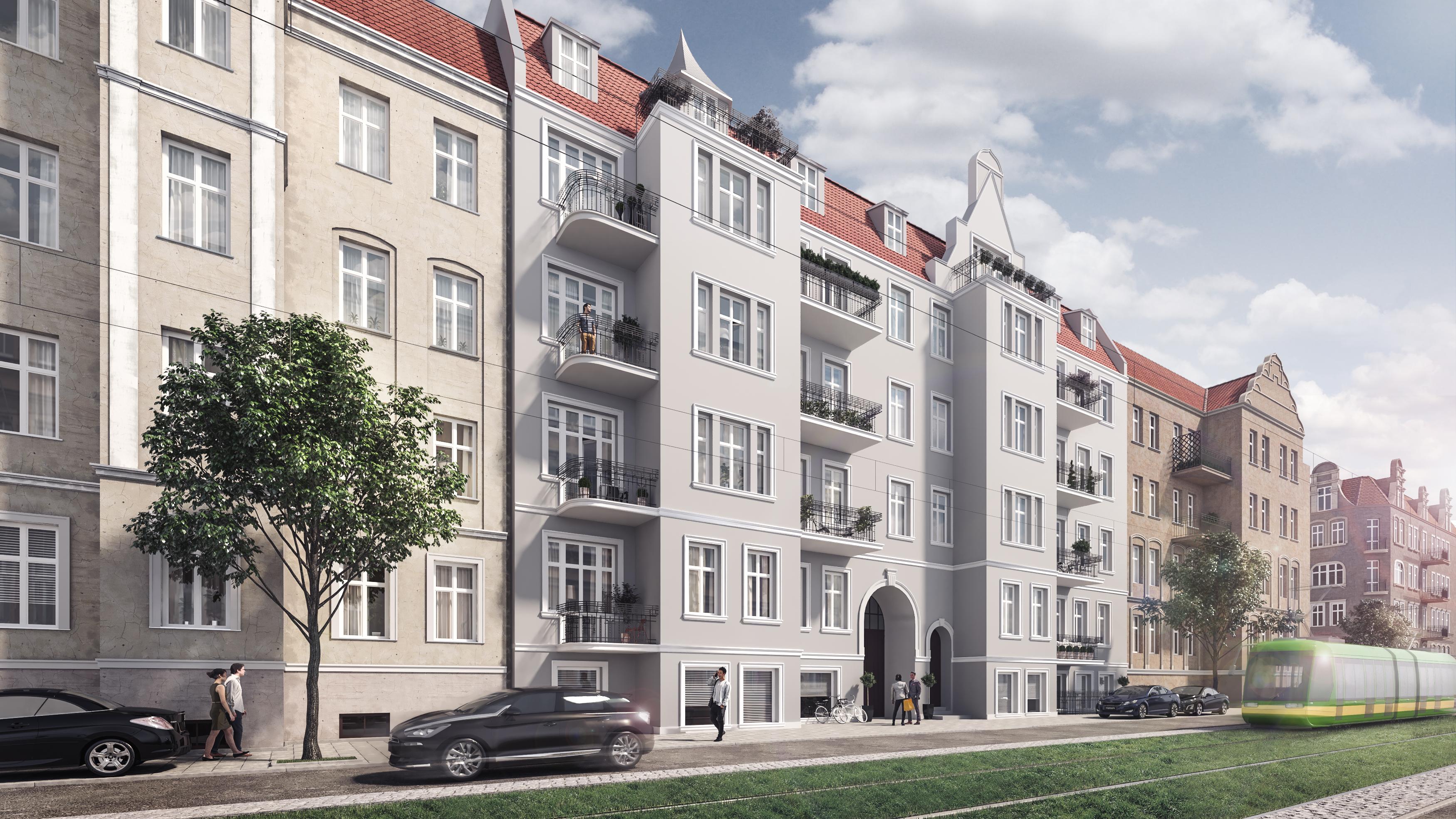 Wizualizacja zewnętrzna 3d rewitalizowanej kamienicy w Poznaniu
