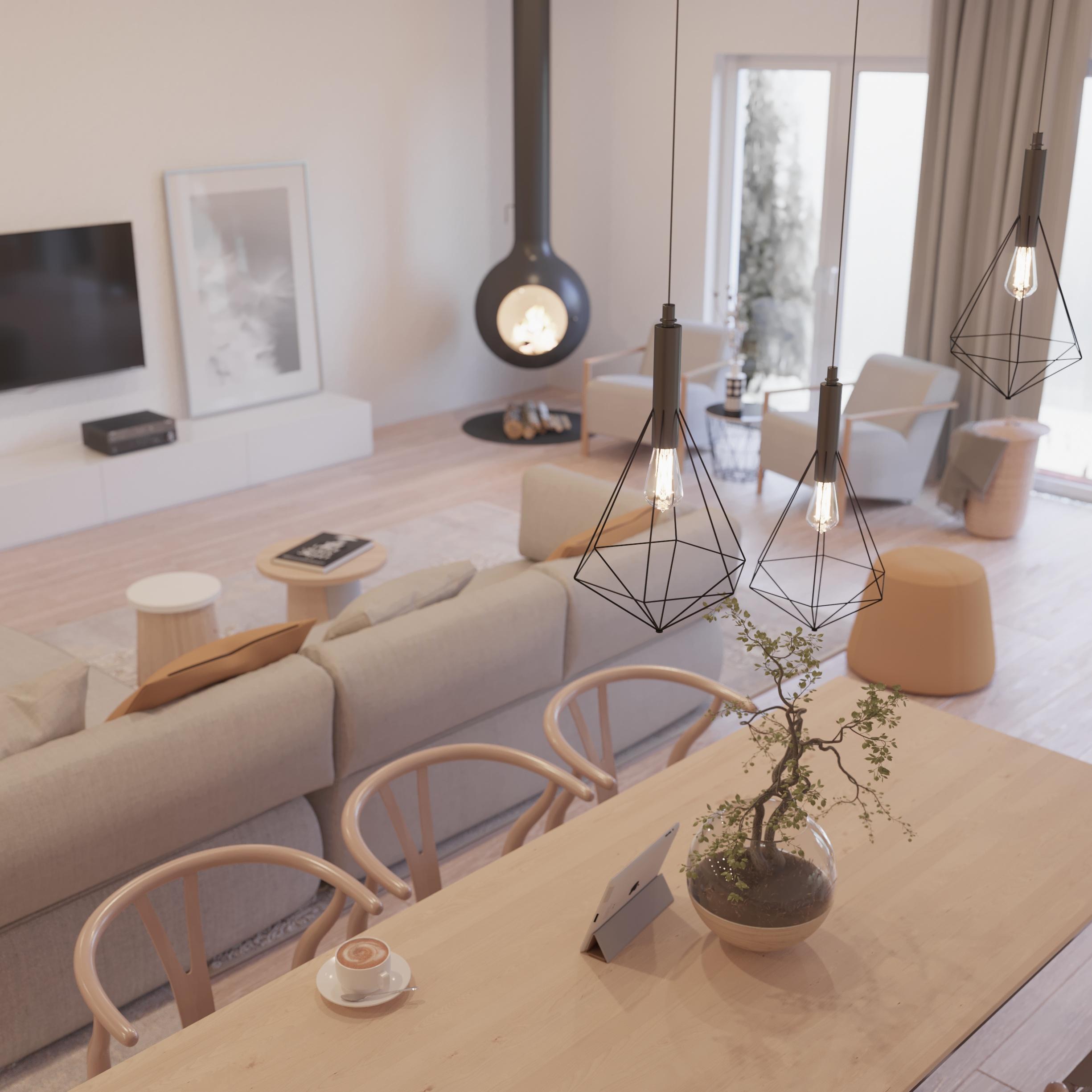 Wizualizacje wnętrz mieszkań pokój dzienny 2